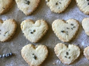 Lavender shortbread, lavender cookies, lavender hearts, lavender biscuits